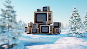 Heap of retro, antique tv on the winter, snow landscape. Realistic 4k animation. stock video footage