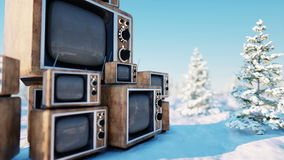 Heap of retro, antique tv on the winter, snow landscape. Realistic 4k animation. stock video