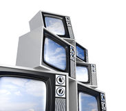 Heap of Retro TV with reflected sky Royalty Free Stock Image