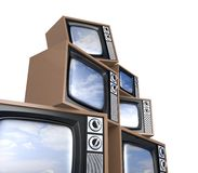 Heap of Retro TV with reflected sky. Look more tv in my portfolio vector illustration