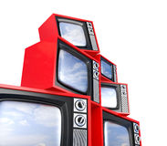 Heap of Retro TV with reflected sky Stock Images