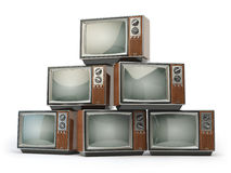 Heap of retro TV sets isolated on white background. Communicatio. N, media and television concept. 3d illustration royalty free illustration
