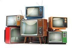 Heap of retro TV sets  on white background. Communicatio Royalty Free Stock Image
