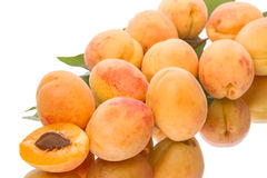 Heap of ripe apricots on a white background Royalty Free Stock Images