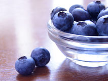 Heap of Blueberries in the Glass Bowl Stock Photos
