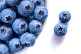 Heap of Ripe Blueberries in the White Bowl Stock Photos