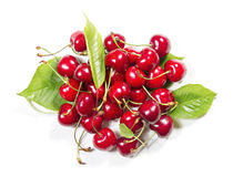 Heap of of ripe cherries. On a white background Royalty Free Stock Images