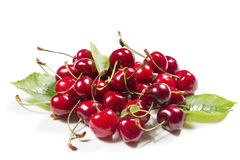 Heap of of ripe cherries. On a white background Stock Photos