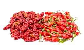 Heap of Ripe and Dried Red Peppers Piri-Piri Royalty Free Stock Image