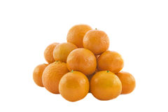 Heap of ripe fresh juicy tangerines. Isolated over white background Royalty Free Stock Photos