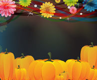 Heap of ripe pumpkins and flowers Royalty Free Stock Image