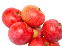 Heap  of ripe, red apples. Isolated. Stock Photos