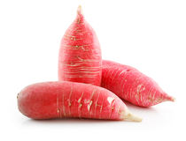Heap of Ripe Red Radish Isolated on White Royalty Free Stock Images