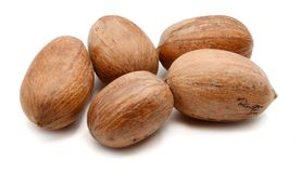 Heap of ripe shelled pecan nuts. stock image