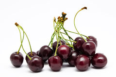 Heap of ripe sweet cherry isolated on a white Royalty Free Stock Images