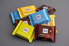 Heap of Ritter sport chocolates mini Stock Photo