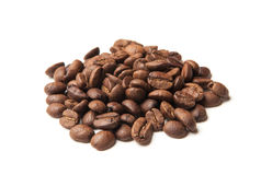 Heap of roasted coffee beans on white Royalty Free Stock Photography