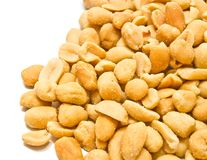 Heap of roasted peanuts. Heap of tasty roasted peanuts on white stock image