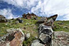 Heap of rocks in the valley in Caucasus mountains Stock Photography