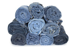Heap rolls of jeans Royalty Free Stock Image
