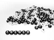 Heap of round letters black and white and answer written by side Royalty Free Stock Photos