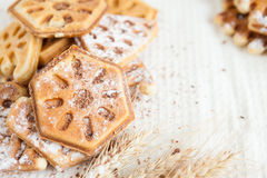 Heap ruddy waffles with chocolate Stock Image