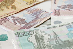 Heap of Russian Federation banknotes Stock Image