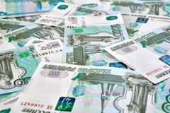 Heap of russian rouble banknotes Royalty Free Stock Image
