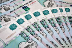 Heap of russian rouble banknotes Stock Image
