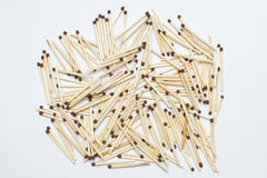 Heap of safety match on white background. Closeup Stock Photos