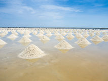 Heap of salt in the farm made of sea water Stock Photo