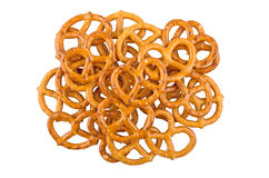 Heap of salted pretzels isolated on white background. Top view Stock Image