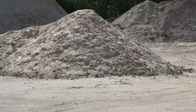 Heap of sand, an important construction material stock photography