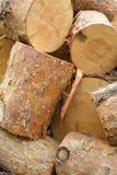 Heap of sawn pine logs closeup view Royalty Free Stock Photos