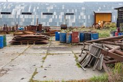 Heap of scrap metal on an abandoned territory Royalty Free Stock Photo