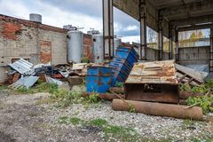 Heap of scrap metal on an abandoned territory Stock Photo
