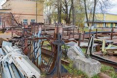 Heap of scrap metal on an abandoned territory Royalty Free Stock Image