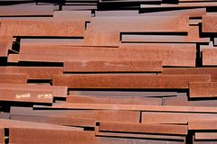 Heap of scrap metal beams stored for recycling Royalty Free Stock Photo
