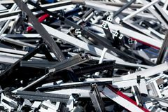 Heap of scrap metal stored for recycling. France Stock Photography