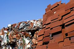 Heap of scrap metal stored for recycling. France Royalty Free Stock Images