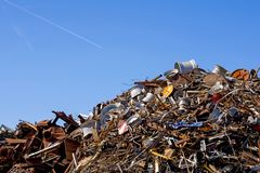 Heap of scrap metal stored for recycling. France Stock Photos