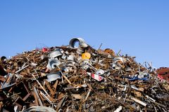 Heap of scrap metal stored for recycling. France Stock Image