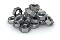 Heap of screw nuts Royalty Free Stock Image