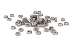 Heap of Steel Nuts. On a white background royalty free illustration