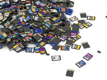 Heap of SD and microSD memory cards Royalty Free Stock Photos
