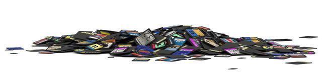 Heap of SD and microSD memory cards Stock Photos
