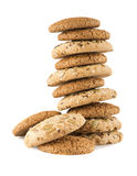 Heap of seeds cookie. Oat Biscuits with sesame seeds white background stock photo