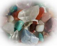 Heap of semi-precious stones. Aventurine, quartz, calcite, turquoise, rhodochrosite, rose quartz and more Royalty Free Stock Photography