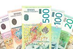 Heap of serbian dinar bank notes. With copy space royalty free stock photo