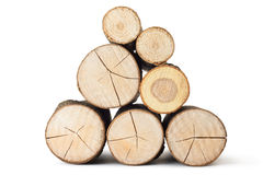 Heap of several logs. View at saw cut. Royalty Free Stock Photo